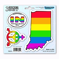 PK015 Indiana Tolerance State LGBT Gay Lesbian Bisexual Transgender 3 Stickers