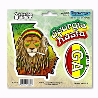 RG010 Georgia State Rasta Ganja Legalize Cannabis Dread Lock Lion 3 Sticker Set