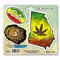 RG061 Georgia Rasta Ganja Legalize Cannabis Pot Leaf Dread Lion 3 Sticker Set