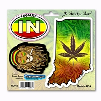 RG065 Indiana Rasta Ganja Legalize Cannabis Pot Leaf Dread Lion 3 Sticker Set
