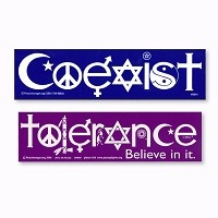 S001-S060 Coexist and Tolerance Interfaith Symbol Glyph Sticker 2-PACK