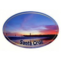 SC020-B - Santa Cruz Local Lighthouse Oval Sticker