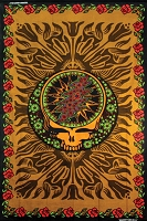 TA055 Grateful Dead SYF Roses 3D Tapestry Bedspread 60x90 Cotton Earth Tones All Cotton