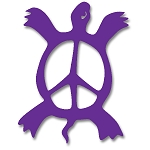 V002 - Peace Symbol Turtle Vinyl Cutout Sticker