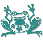 V007 - Peace Flowers Frog Vinyl Cutout Window Sticker