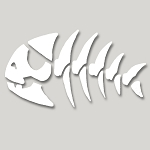 V032 - Pirate Fish Skeleton Vinyl Cutout Window Sticker
