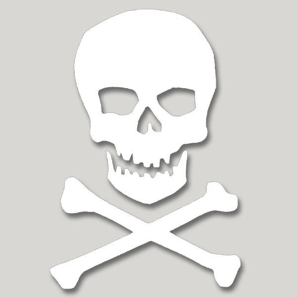 Skull and cross bones vinyl cutout window sticker