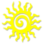 V055 - Tribal Spiral Sun Vinyl Cutout Window Sticker
