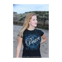 WT010BLK - Peace Languages Word Cloud Black Women's Fitted T-shirt
