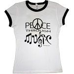 WT002 - Peace Through Music Women's Fitted Ringer T-shirt
