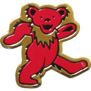 "A564 Officially Licensed Grateful Dead Dancing Bear Brass Metal 3"" Sticker"