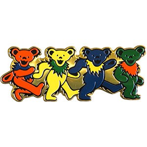 "A565 Officially Licensed Grateful Dead 4 Dancing Bear Brass Metal 5"" Sticker"