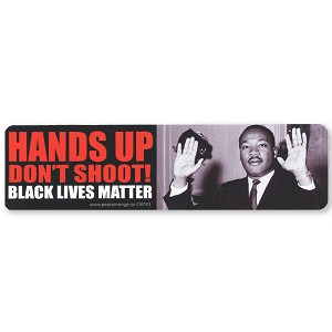 CM101 - HANDS UP DON'T SHOOT! Black Lives Matter - MLK Color Mini Sticker