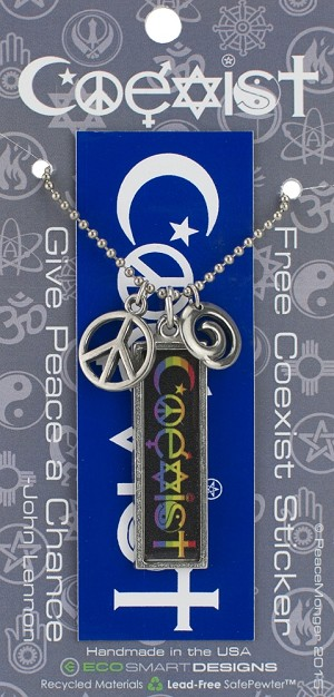 J216 Coexist Rainbow Interfaith Resin Cast Pendant with Peace Symbol Charms and Ball Chain