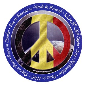 CS201-D-STAT - Peace in Belgium Interfaith Coexist Flag Symbol Color Static Cling Sticker