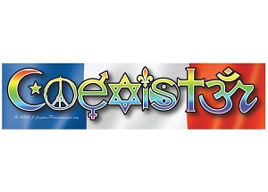 CS202-STAT- COEXISTER - French Interfaith Coexist Symbol Flag Peace STATIC CLING Sticker