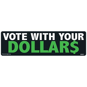 CS211 - Vote With Your Dollar$ Color Sticker