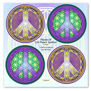 CS245-PK Flower of Life Peace Symbol Mini Sticker 4-Pack