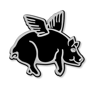 F16 - Flying Pig 3D Chrome Car Truck Emblem  Sticker Jesus Parody Darwin