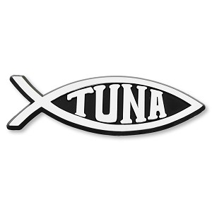 F18 - Tuna Fish 3D Chrome Auto or Truck Emblem Sticker Jesus Parody Darwin