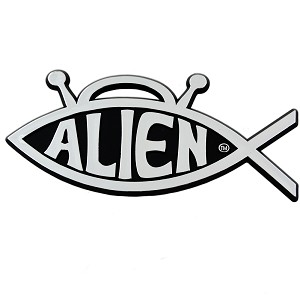 F68 - Alien Fish Chrome Car Auto Truck Sticker Emblem Sci-Fi