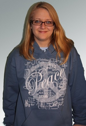 HS003DB - Peace Languages Word Cloud Men's / Unisex Hoodie Sweatshirt Denim Blue