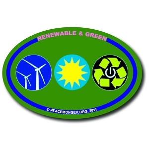 OM028 - Renewable & Green Mini Oval Sticker