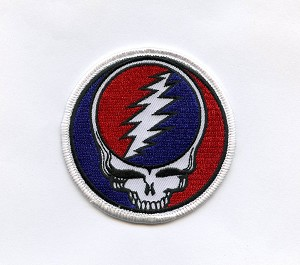 "P043 - Grateful Dead 3"" SYF Steal Your Face Silk Embroidered Patch Deadhead Skull Bolt"