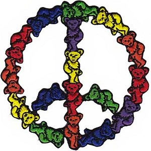P255 - Officially Licensed Grateful Dead Rainbow Dancing Bears Peace Symbol Sign 4 Inch Iron-on Patch