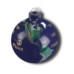PG011 - Peace in 12 Languages Earth Glass Ornament Natural Earth Continents More Than 50 Rivers Visible, 2.5""