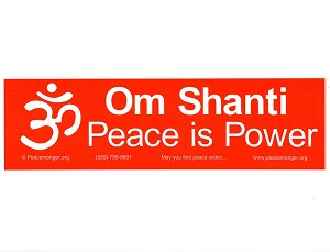 S538 - Om Shanti, Peace is Power Bumper Sticker