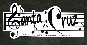SC013 - Santa Cruz Music Scale Notes Treble Clef Bumper Sticker