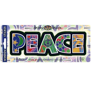 A011 Peace Artistic Lettering Stars Hearts Flowers Sun Art Decal Sticker