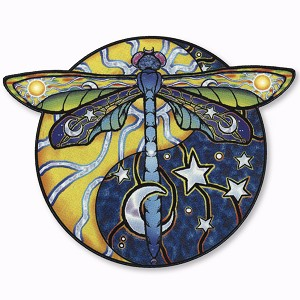 A036 Yin Yang Dragonfly Sun Moon Jerry Jaspar Art Decal Window Sticker