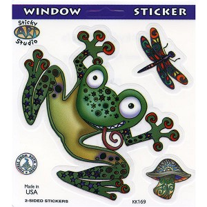 A037 - Zany Frog Multiple Art Decal Window Sticker