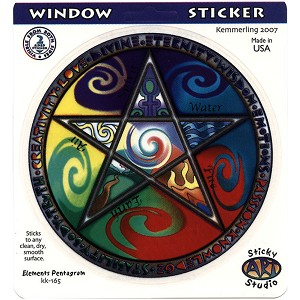 A047 - Elements Pentacle Art Decal Window Sticker