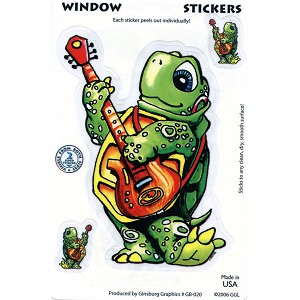 A049 - Guitar Turtle Art Decal Window Sticker