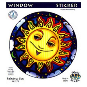 A080 - Grinning Sun Art Decal Window Sticker