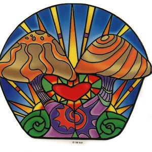 A124 - Stained Glass Mushrooms Art Decal Window Sticker