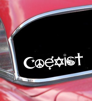 A335-STAT Coexist Symbol Religion Peace Sign White Letters on Clear Static Cling Art Decal Window Sticker 7""