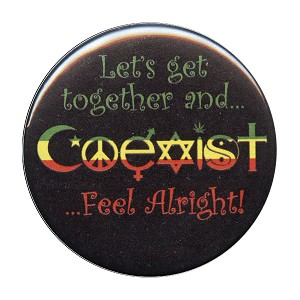 B315 - Rasta Coexist Pin Back Button