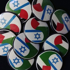 B443-10Pack Israeli and Palestinian Flags Yin Yang Peace Button Pin
