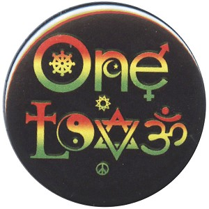 B454 - One Love Symbols Rasta Button