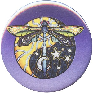 B458 - Yin Yang Dragonfly Sun and Moon Button