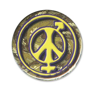 B497 - Male - Female Equality and Peace Psychedelic Hippie Button