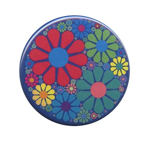 B498 - Flower Power Flower Mosaic Psychedelic Hippie Button