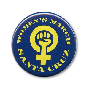 B520 Women's March Santa Cruz Woman Power Symbol Pin Back Button