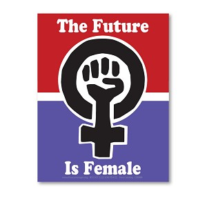 CM086 The Future is Female Women's March Protest Rally Sign Mini Sticker Decal