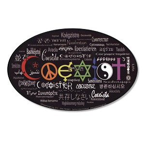 CS005 Coexist in 55 Languages Interfaith International Peace Decal Bumper Sticker