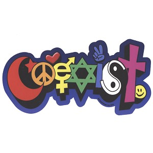 CS105 - Happy Coexist Color Bumper Sticker